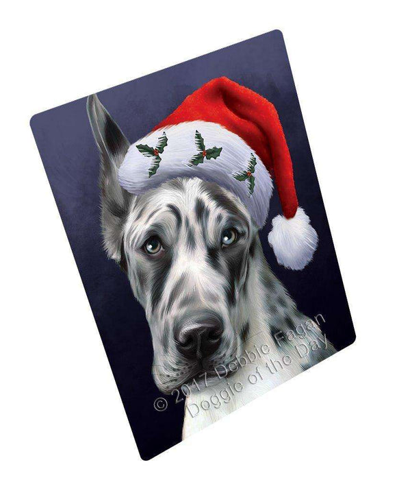 Christmas Great Dane Dog Holiday Portrait with Santa Hat Art Portrait Print Woven Throw Sherpa Plush Fleece Blanket