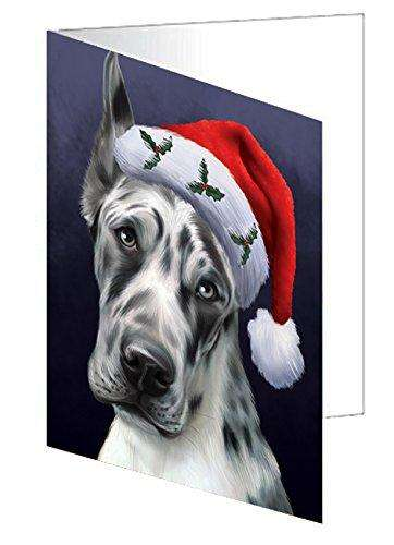 Christmas Great Dane Dog Holiday Portrait with Santa Hat Greeting Card