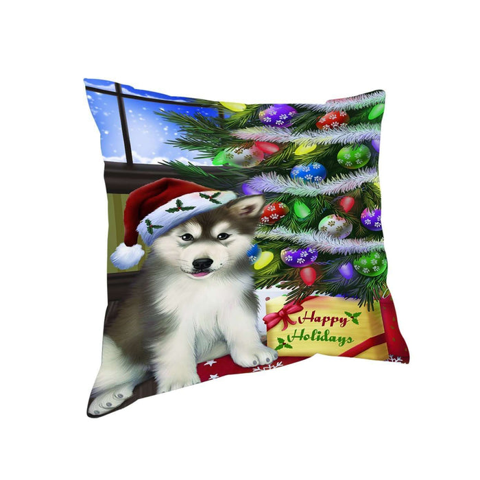 Christmas Happy Holidays Alaskan Malamute Dog with Tree and Presents Throw Pillow