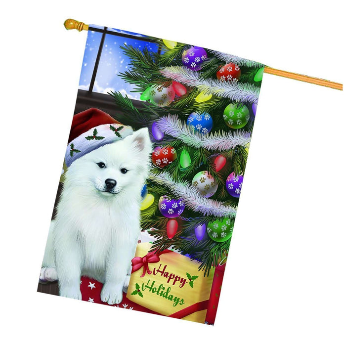 Christmas Happy Holidays American Eskimo Dog with Tree and Presents House Flag