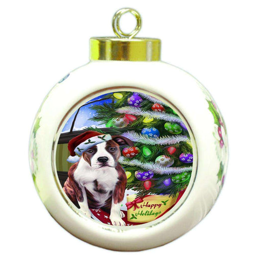 Christmas Happy Holidays American Staffordshire Terrier Dog with Tree and Presents Round Ball Christmas Ornament RBPOR53436