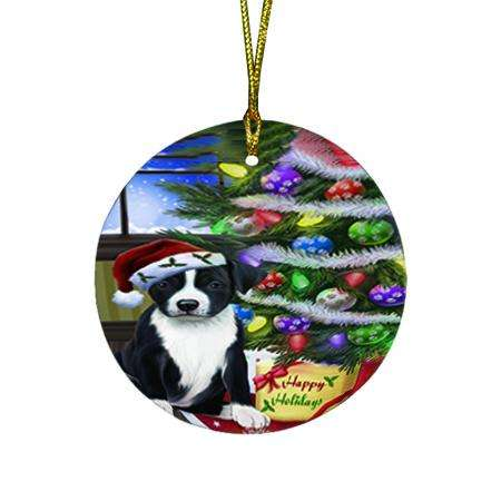 Christmas Happy Holidays American Staffordshire Terrier Dog with Tree and Presents Round Flat Christmas Ornament RFPOR53426