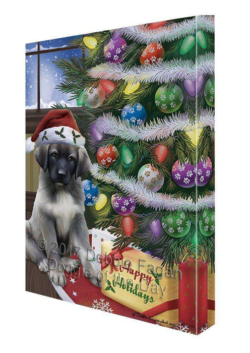 Christmas Happy Holidays Anatolian Shepherds Dog with Tree and Presents Canvas Wall Art