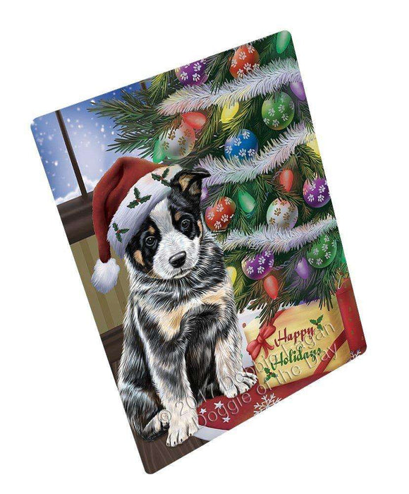 Christmas Happy Holidays Australian Cattle Dog with Tree and Presents Art Portrait Print Woven Throw Sherpa Plush Fleece Blanket
