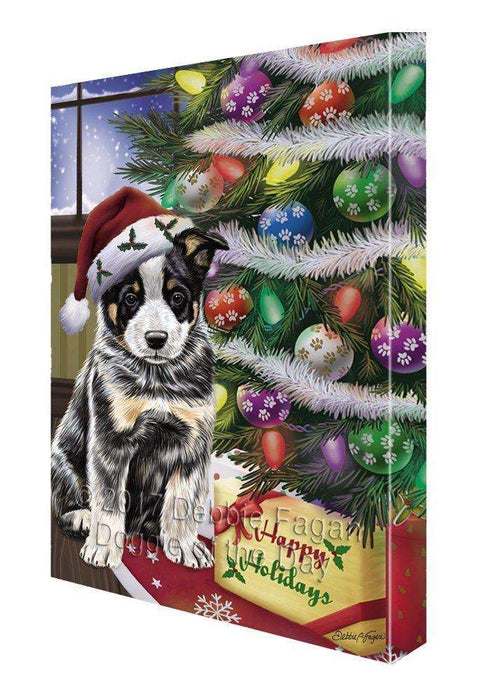 Christmas Happy Holidays Australian Cattle Dog with Tree and Presents Painting Printed on Canvas Wall Art