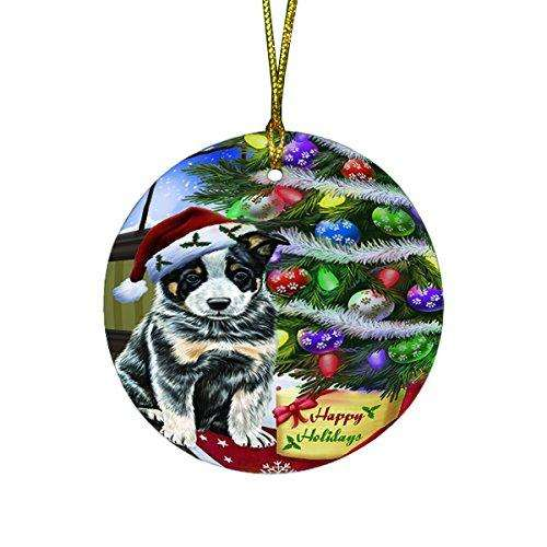 Christmas Happy Holidays Australian Cattle Dog with Tree and Presents Round Ornament D053