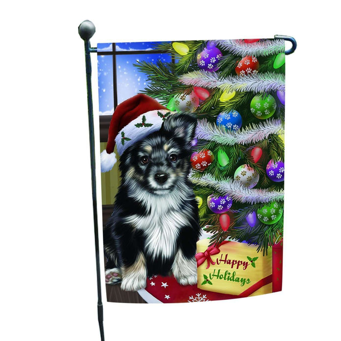 Christmas Happy Holidays Australian Shepherd Dog with Tree and Presents Garden Flag