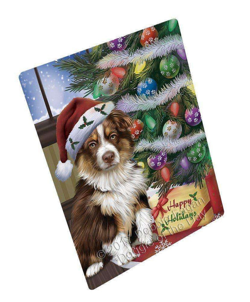 "Christmas Happy Holidays Australian Shepherd Dog With Tree And Presents Magnet Mini (3.5"" x 2"")"