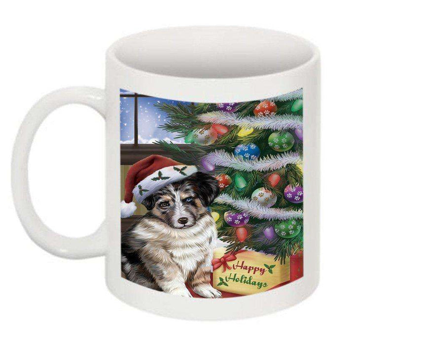 Christmas Happy Holidays Australian Shepherd Dog with Tree and Presents Mug CMG0047
