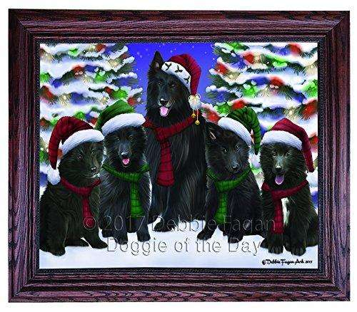 Christmas Happy Holidays Belgian Shepherd Dogs Family Portrait Framed Print on Canvas Wall Art CNV1983