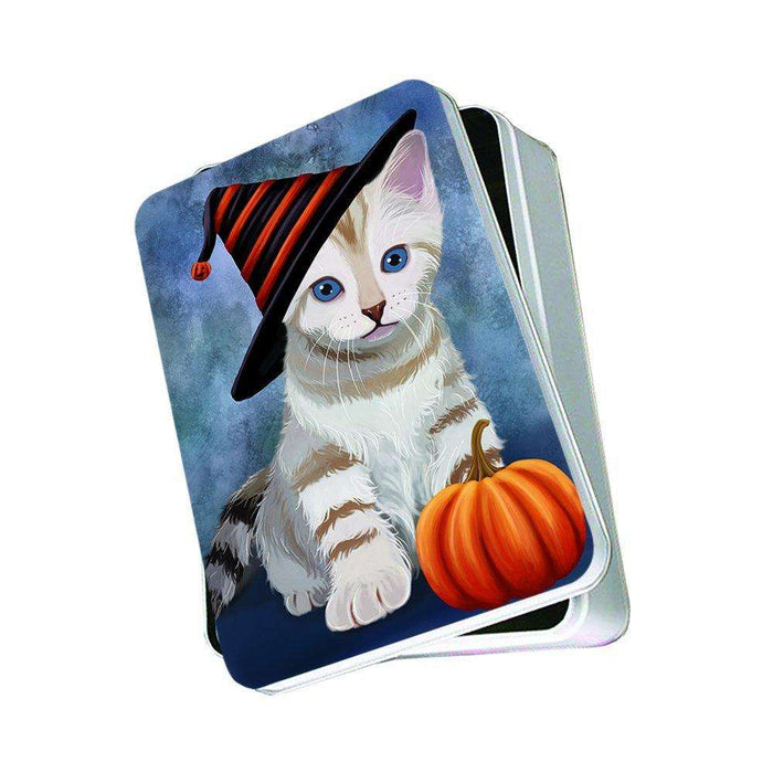 Christmas Happy Holidays Bengal cat Wearing Witch Hat Photo Storage Tin PTIN0046