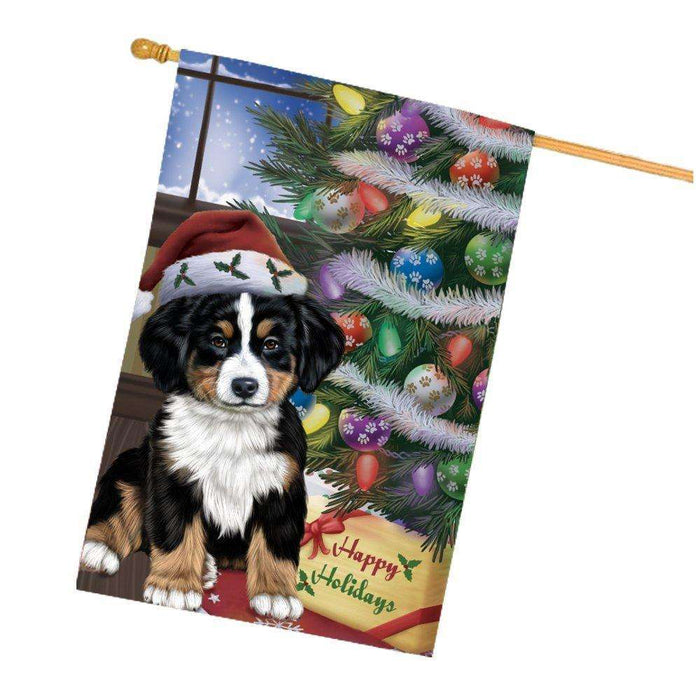 Christmas Happy Holidays Bernese Mountain Dog with Tree and Presents House Flag