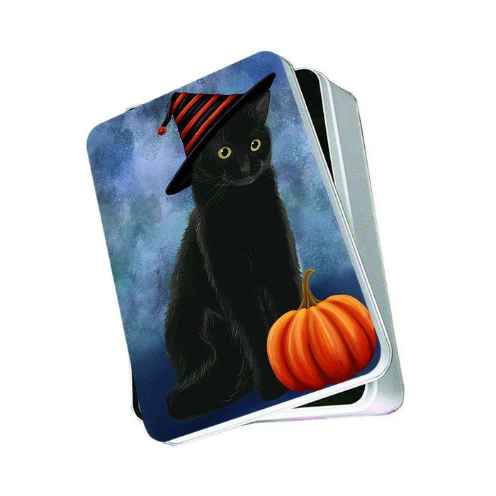 Christmas Happy Holidays Black Cat Wearing Witch Hat Photo Storage Tin PTIN0054