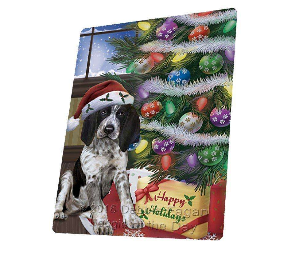 Christmas Happy Holidays Bluetick Coonhound Dog with Tree and Presents Tempered Cutting Board