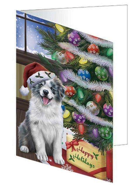 Christmas Happy Holidays Border Collie Dog with Tree and Presents Greeting Card GCD65438