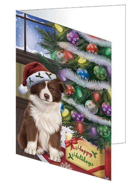 Christmas Happy Holidays Border Collie Dog with Tree and Presents Greeting Card GCD65441