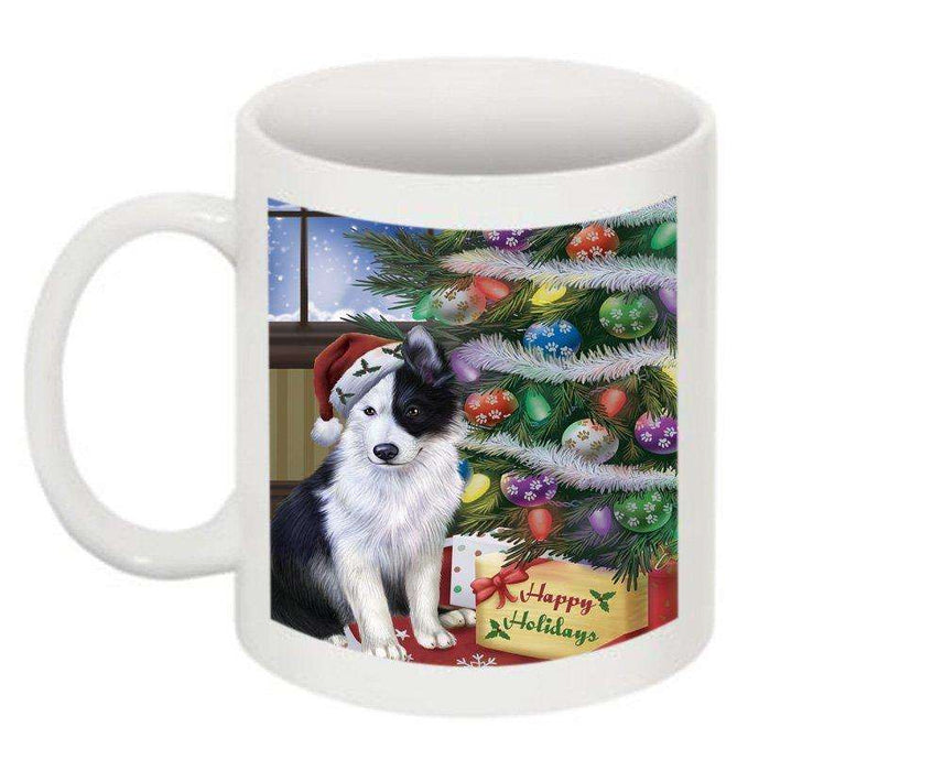 Christmas Happy Holidays Border Collie Dog with Tree and Presents Mug CMG0052