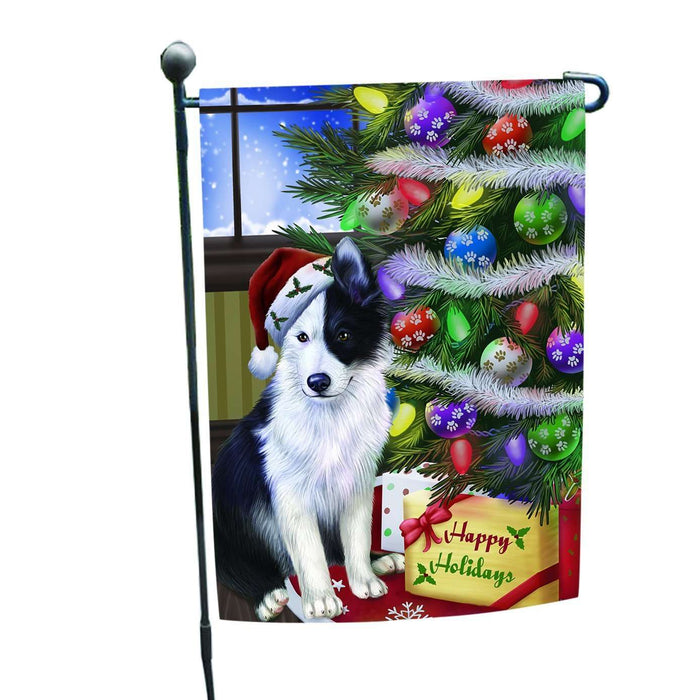 Christmas Happy Holidays Border Collies Dog with Tree and Presents Garden Flag