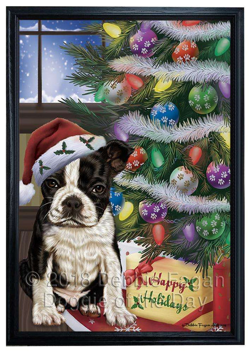 Christmas Happy Holidays Boston Terrier Dog with Tree and Presents Framed Canvas Print Wall Art FCVS146685