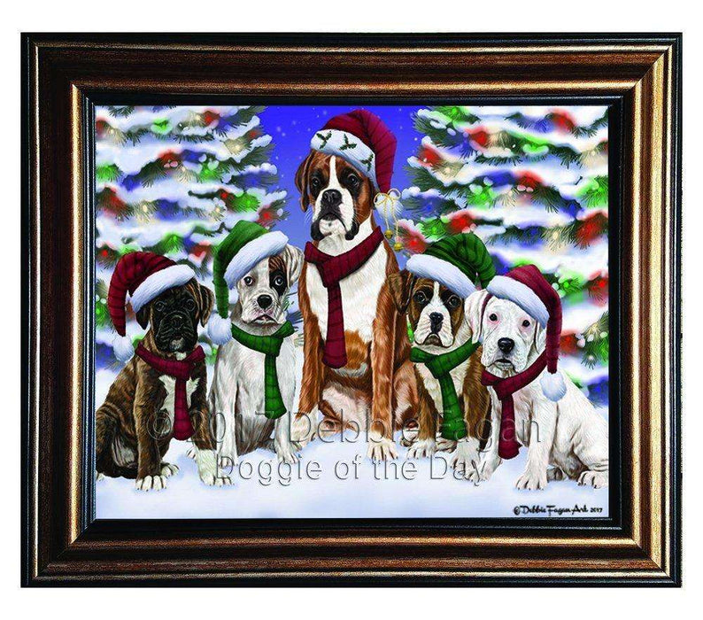 Christmas Happy Holidays Boxer Dogs Family Portrait Framed Print on Canvas Wall Art CNV2068