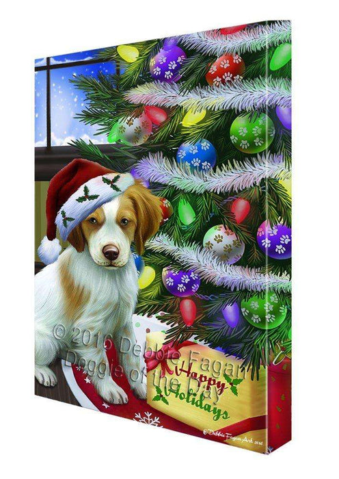 Christmas Happy Holidays Brittany Spaniel Dog with Tree and Presents Canvas Wall Art