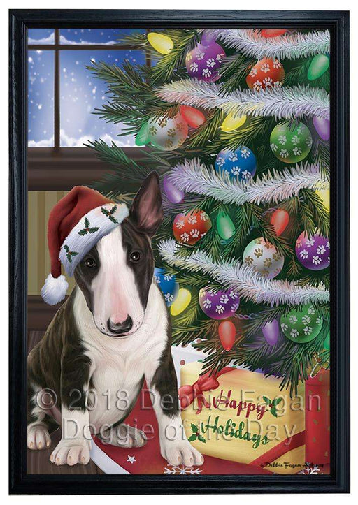 Christmas Happy Holidays Bull Terrier Dog with Tree and Presents Framed Canvas Print Wall Art FCVS146736