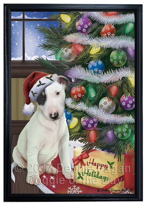Christmas Happy Holidays Bull Terrier Dog with Tree and Presents Framed Canvas Print Wall Art