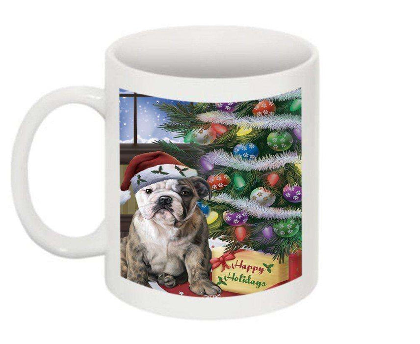 Christmas Happy Holidays Bulldog with Tree and Presents Mug CMG0055