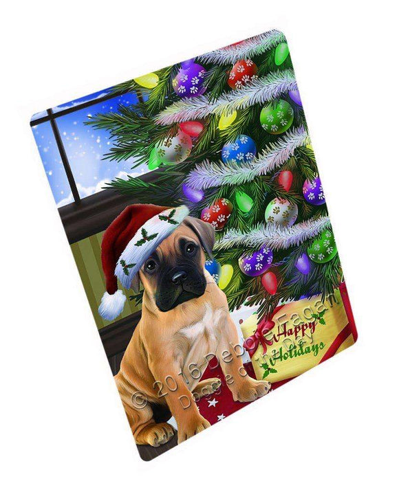 "Christmas Happy Holidays Bullmastiff Dog With Tree And Presents Magnet Mini (3.5"" x 2"")"
