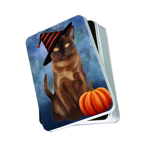 Christmas Happy Holidays Burmese Cat Wearing Witch Hat Photo Storage Tin PTIN0066