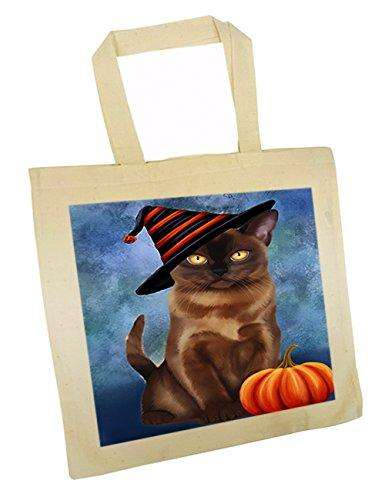 Christmas Happy Holidays Burmese Cat Wearing Witch Hat Tote Bag TTB0066