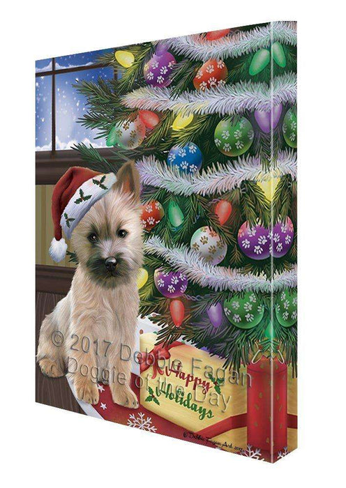 Christmas Happy Holidays Cairn Terrier Dog with Tree and Presents Canvas Wall Art