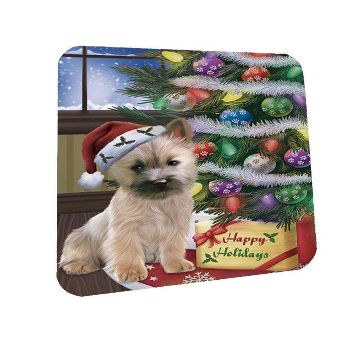 Christmas Happy Holidays Cairn Terrier Dog with Tree and Presents Coasters Set of 4