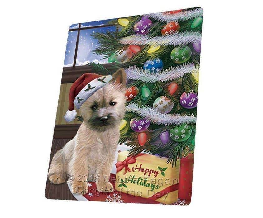 Christmas Happy Holidays Cairn Terrier Dog with Tree and Presents Large Refrigerator / Dishwasher Magnet
