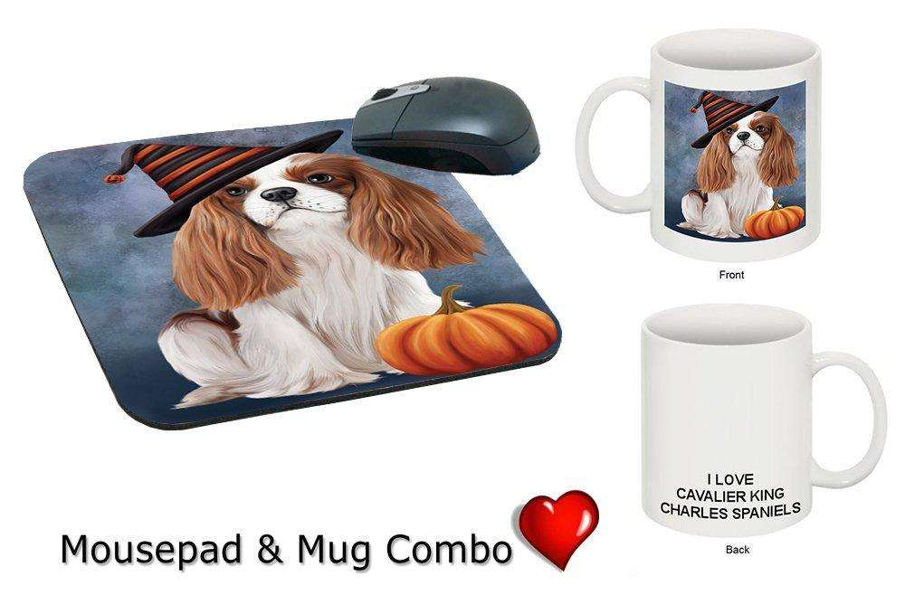 Christmas Happy Holidays Cavalier King Charles Spaniel Adult Dog Wearing Witch Hat Mug & Mousepad Combo Gift Set MMCG0609