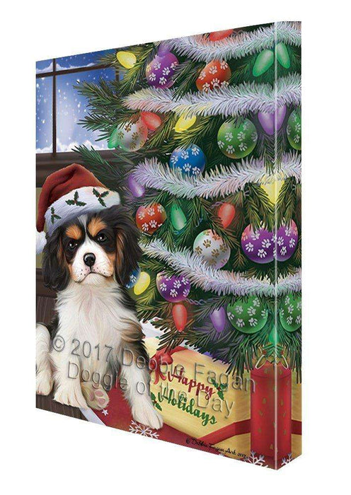 Christmas Happy Holidays Cavalier King Charles Spaniel Dog with Tree and Presents Canvas Wall Art