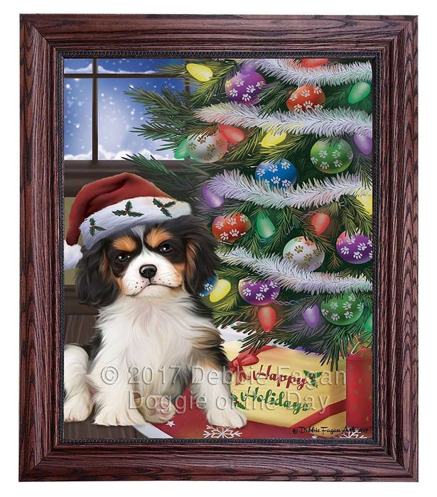 Christmas Happy Holidays Cavalier King Charles Spaniel Dog with Tree and Presents Framed Canvas Print Wall Art