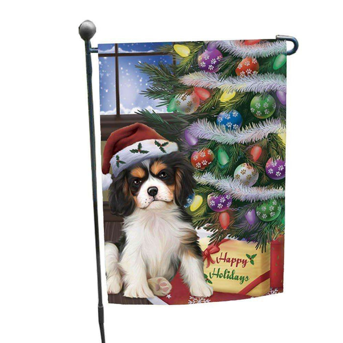 Christmas Happy Holidays Cavalier King Charles Spaniel Dog with Tree and Presents Garden Flag