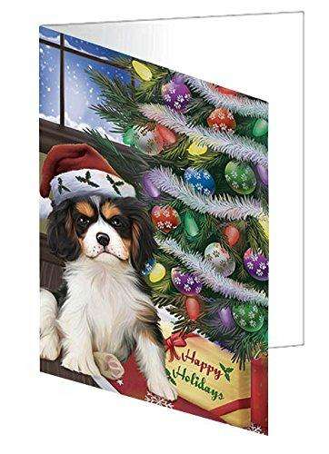 Christmas Happy Holidays Cavalier King Charles Spaniel Dog with Tree and Presents Greeting Card