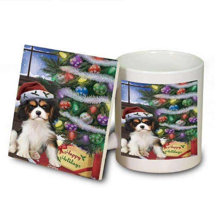 Christmas Happy Holidays Cavalier King Charles Spaniel Dog with Tree and Presents Mug and Coaster Set