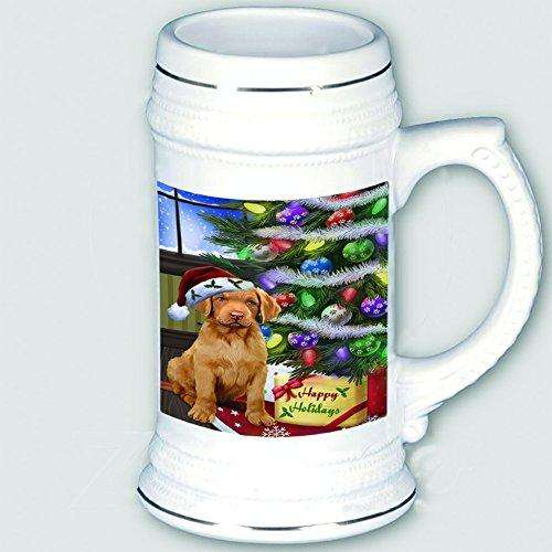 Christmas Happy Holidays Chesapeake Bay Retriever Dog with Tree and Presents Beer Stein
