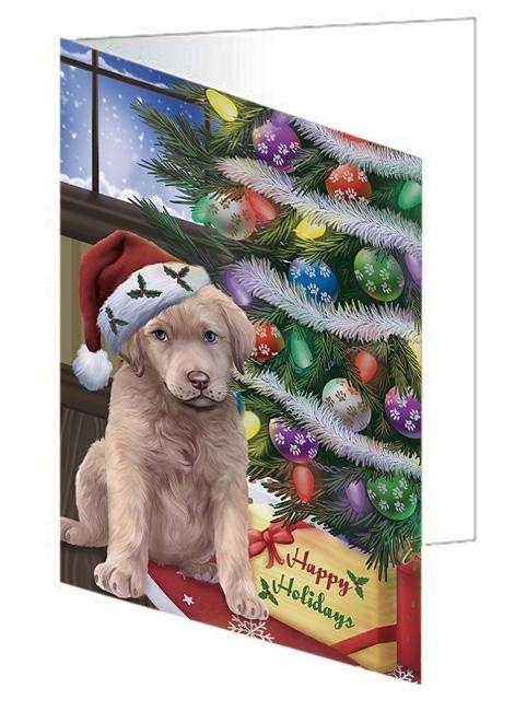 Christmas Happy Holidays Chesapeake Bay Retriever Dog with Tree and Presents Greeting Card GCD65480