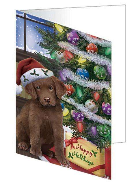 Christmas Happy Holidays Chesapeake Bay Retriever Dog with Tree and Presents Greeting Card GCD65483