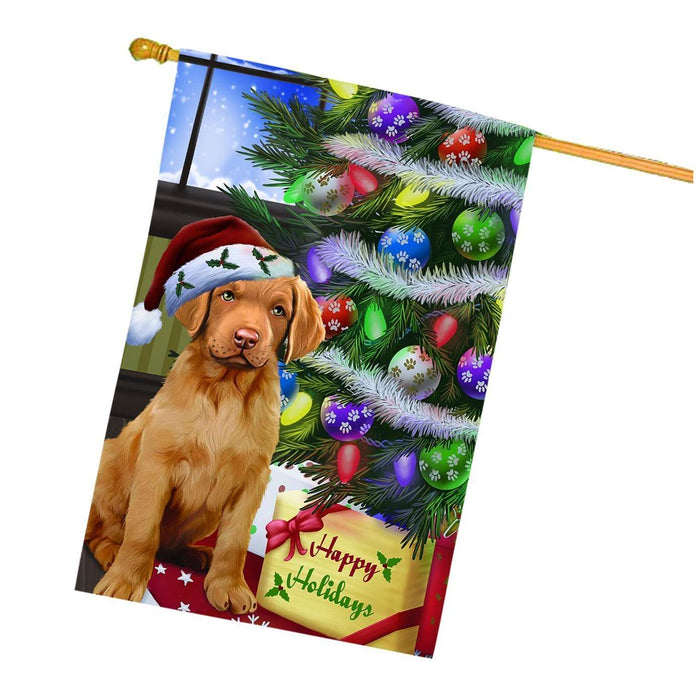 Christmas Happy Holidays Chesapeake Bay Retriever Dog with Tree and Presents House Flag