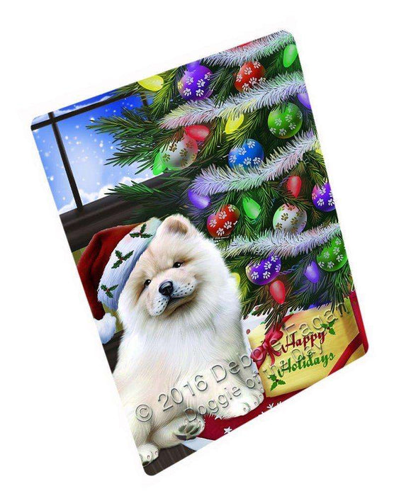 Christmas Happy Holidays Chow Chow Dog with Tree and Presents Large Refrigerator / Dishwasher Magnet D017
