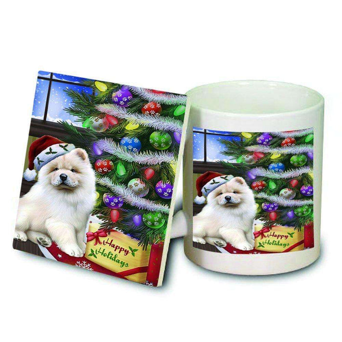 Christmas Happy Holidays Chow Chow Dog with Tree and Presents Mug and Coaster Set