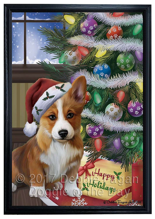 Christmas Happy Holidays Corgis Dog with Tree and Presents Framed Canvas Print Wall Art