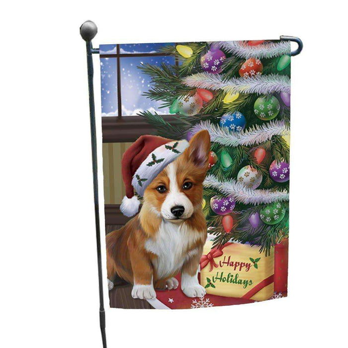 Christmas Happy Holidays Corgis Dog with Tree and Presents Garden Flag