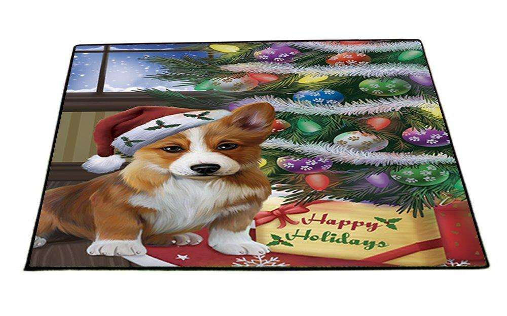 Christmas Happy Holidays Corgis Dog with Tree and Presents Indoor/Outdoor Floormat