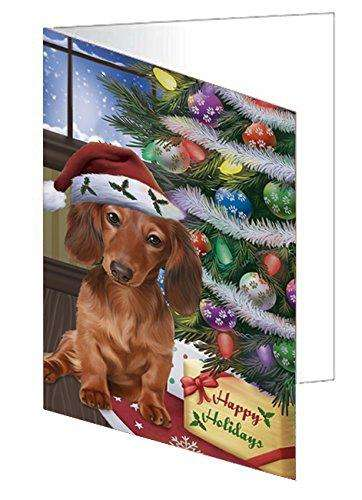 Christmas Happy Holidays Dachshunds Dog with Tree and Presents Greeting Card
